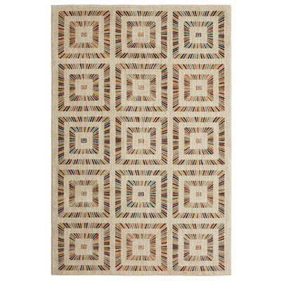 Delora Rainbow Squares Cream Area Rug Rug Size: Rectangle 53 x 710