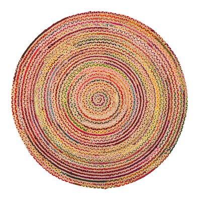 Petrolia Handmade Pink/Yellow/Green Area Rug Rug Size: Round 4