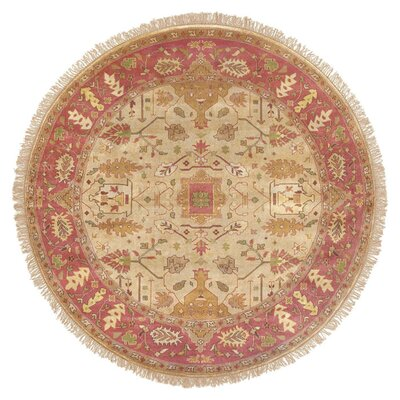 Adrien Burnished Gold Area Rug Rug Size: Round 8