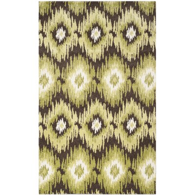 Greenhill Dark Brown/Green Rug Rug Size: 5 x 8