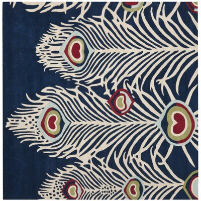 Dorthy Blue/Ivory Rug Rug Size: Square 6 x 6