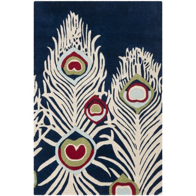 Dorthy Blue/Ivory Rug Rug Size: Rectangle 36 x 56