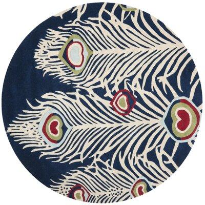Dorthy Blue/Ivory Rug Rug Size: Round 6 x 6