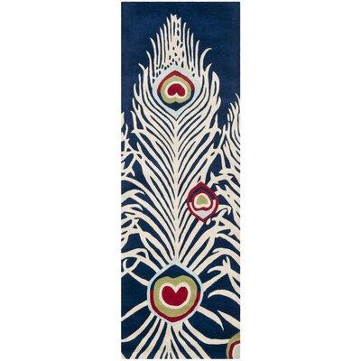 Dorthy Blue/Ivory Rug Rug Size: Runner 26 x 8