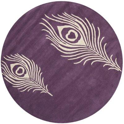 Dorthy Purple & Ivory Area Rug Rug Size: Round 4
