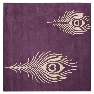 Dorthy Purple & Ivory Area Rug Rug Size: Square 4
