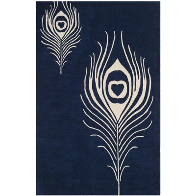 Dorthy Navy/Ivory Contemporary Rug Rug Size: Rectangle 36 x 56