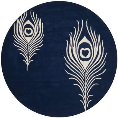 Dorthy Navy/Ivory Contemporary Rug Rug Size: Round 6