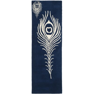 Dorthy Navy/Ivory Contemporary Rug Rug Size: Runner 23 x 8