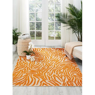 Gerdes Orange Indoor/Outdoor Area Rug Rug Size: Rectangle 53 x 75