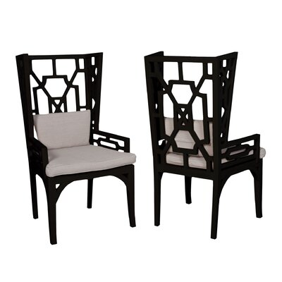 Rondalla Wing Wingback Arm Chair Finish: Black Wood Grain