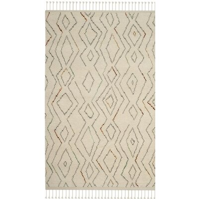 Glenoe Hand-Knotted Ivory Geometric Area Rug Rug Size: Rectangle 5 x 8