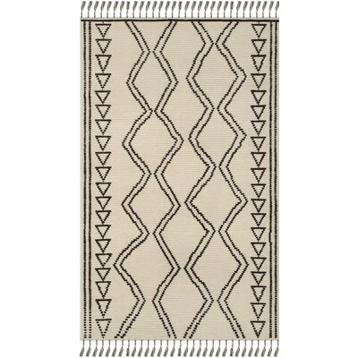Glenoe Hand-Knotted Ivory/Black Area Rug Rug Size: Rectangle 6 x 9