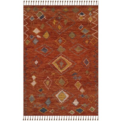 Glenoe Hand-Knotted Red Area Rug Rug Size: Rectangle 9 x 12