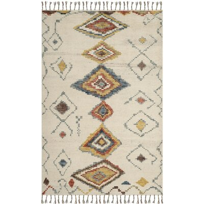 Glenoe Hand-Knotted Ivory Area Rug Rug Size: Rectangle 6 x 9
