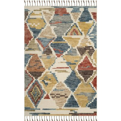 Glenoe Hand-Knotted Red/Blue Area Rug Rug Size: 9 x 12