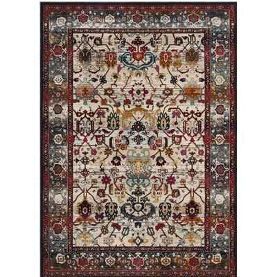 Wayne Ivory/Anthracite Area Rug Rug Size: Rectangle 67 x 92