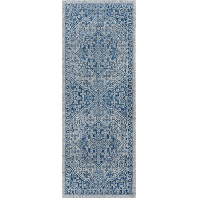 Ares Traditional Aqua Indoor/Outdoor Area Rug Rug Size: Runner 27 x 73