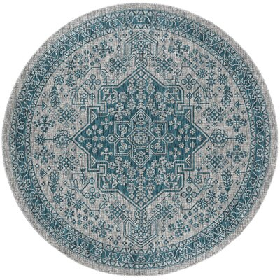 Ares Traditional Aqua Indoor/Outdoor Area Rug Rug Size: Round 710