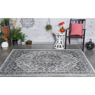Boisdale Traditional Black Indoor/Outdoor Area Rug Rug Size: 710 x 103