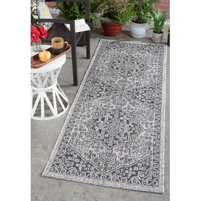 Ares Traditional Black Indoor/Outdoor Area Rug Rug Size: Runner 27 x 73
