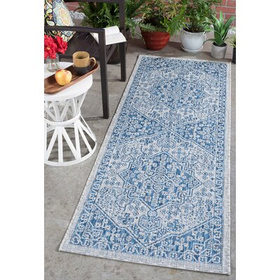 Ares Traditional Indigo Indoor/Outdoor Area Rug Rug Size: Runner 27 x 73