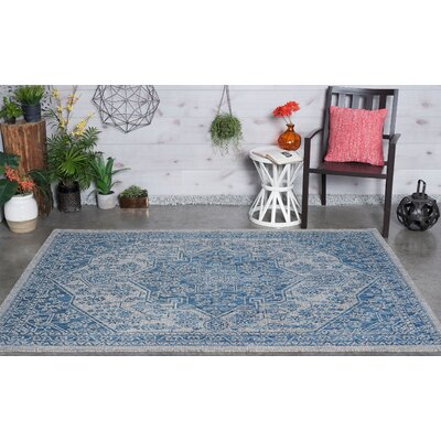 Boisdale Traditional Indigo Indoor/Outdoor Area Rug Rug Size: 67 x 96