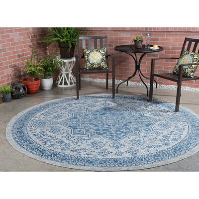 Ares Traditional Indigo Indoor/Outdoor Area Rug Rug Size: Round 710