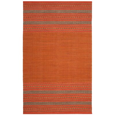 Bokara Hills Hand-Woven Orange/Red Area Rug Rug Size: 5 x 8