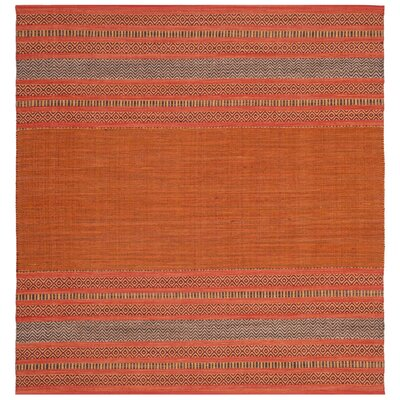 Bokara Hills Hand-Woven Orange/Red Area Rug Rug Size: Square 6