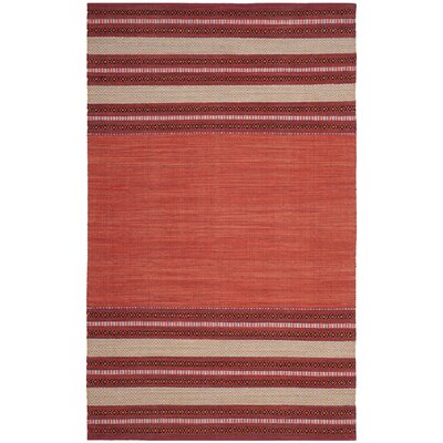 Bokara Hills Hand-Woven Red/Ivory Area Rug Rug Size: Rectangle 5 x 8