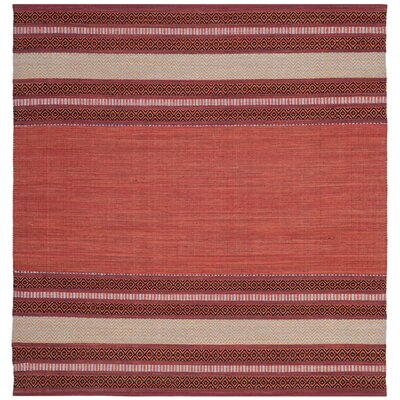 Bokara Hills Hand-Woven Red/Ivory Area Rug Rug Size: Square 6