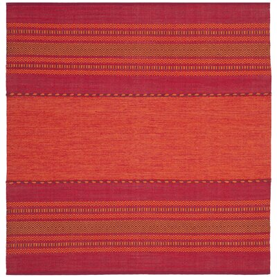 Bokard Hand-Woven Orange/Red Area Rug Rug Size: Square 6