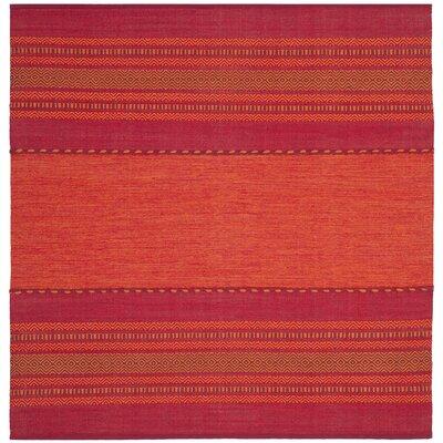 Bokard Hand-Woven Orange/Fuchsia Pink Area Rug Rug Size: Square 6