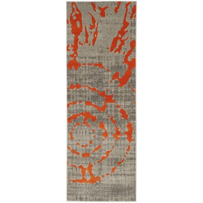 Deasia Light Gray & Orange Area Rug Rug Size: Runner 24 x 9