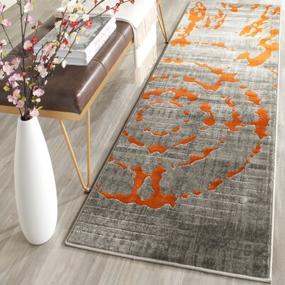 Deasia Light Gray & Orange Area Rug Rug Size: Runner 24 x 67