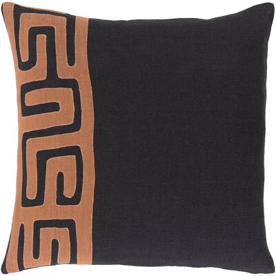 Bomaderry 100% Linen Throw Pillow Cover Size: 22 H x 22 W x 0.25 D, Color: OrangeBlack
