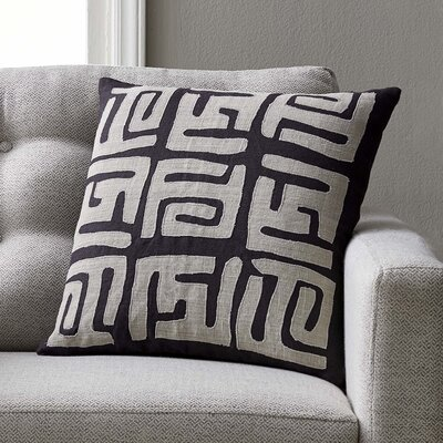 Bomaderry Throw Pillow Cover Size: 22 H x 22 W x 0.25 D, Color: GrayBlack