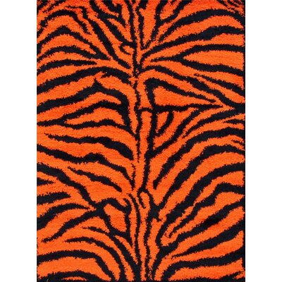 Tham Modern Shag Zebra Orange Area Rug
