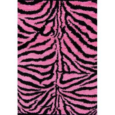 Bonhill Modern Shag Zebra Pink Area Rug