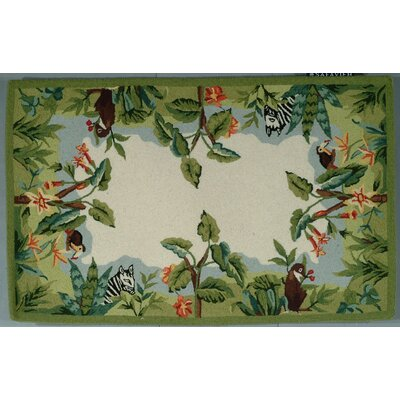 Bridges Green/Ivory Novelty Area Rug Rug Size: Rectangle 79 x 99