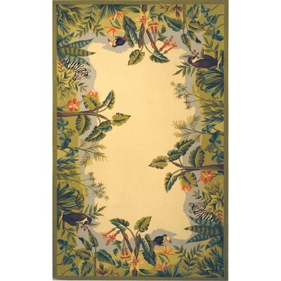 Bridges Green/Ivory Novelty Area Rug Rug Size: Rectangle 26 x 4