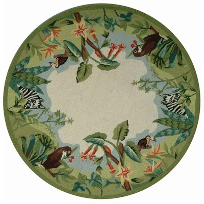 Bridges Green/Ivory Novelty Area Rug Rug Size: Round 56