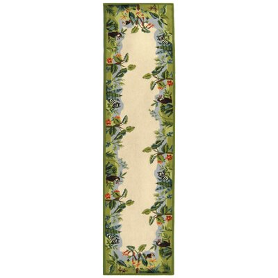 Bridges Green/Ivory Novelty Area Rug Rug Size: Runner 26 x 8