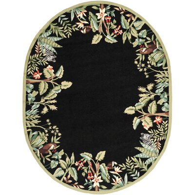 Bridges Black/Green Novelty Area Rug Rug Size: Oval 76 x 96