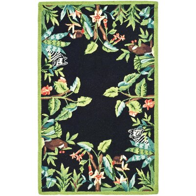Bridges Black/Green Novelty Area Rug Rug Size: 18 x 26