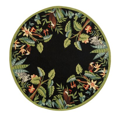Bridges Black/Green Novelty Area Rug Rug Size: Round 4