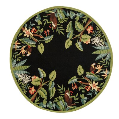 Bridges Black/Green Novelty Area Rug Rug Size: Round 8