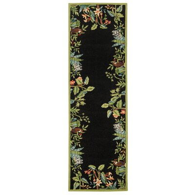 Bridges Black/Green Novelty Area Rug Rug Size: Runner 26 x 12