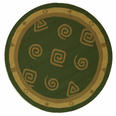 Bridges Green Geo Area Rug Rug Size: Round 8